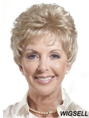 Real Hair Wigs For Older Women Cropped Length Auburn Color Classic Cuts