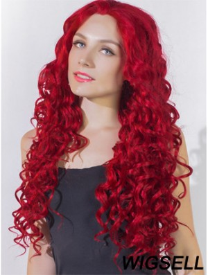 Curly Without Bangs Lace Front Popular 24 inch Red Long Wigs