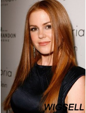 Without Bangs Long Copper Straight 20 inch Online Human Hair Isla Fisher Wigs