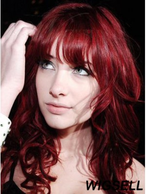 Capless With Bangs Long Curly 18 inch Red Cheapest Fashion Wigs