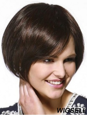 Chin Length Straight Bobs Brown Popular 100% Hand-tied Wigs