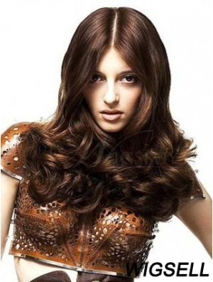Long Auburn Wavy 100% Hand Tied Human Hair Monofilament Nicki Minaj Wig UK