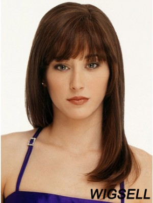 Straight With Bangs 100% Hand-tied Fabulous 16 inch Auburn Long Wigs