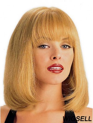 Human Hair Wig Blonde With Bangs Straight Style Shoulder Length