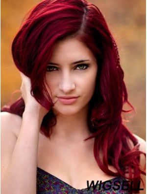 Wavy Without Bangs Long Red No-Fuss Lace Front Wigs
