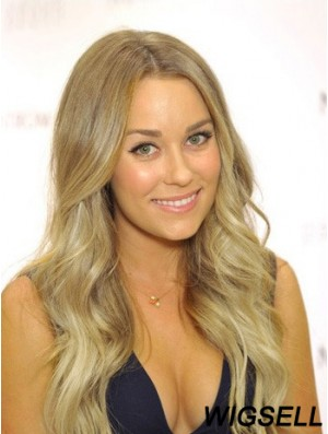 100% Hand Tied Remy Long Wavy Blonde Cheap Monofibre Wigs