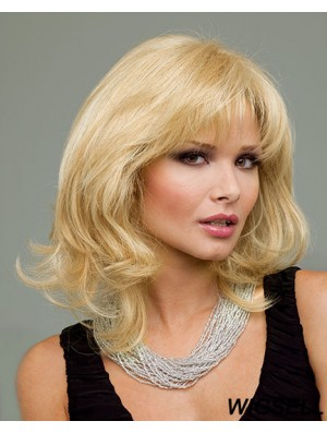 Human Hair Wigs Blonde Chin Length Blonde Color Layered Cut