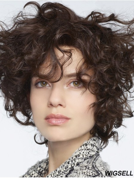 Curly Human Hair Lace Front Wigs With Bangs Monofilament Curly Style