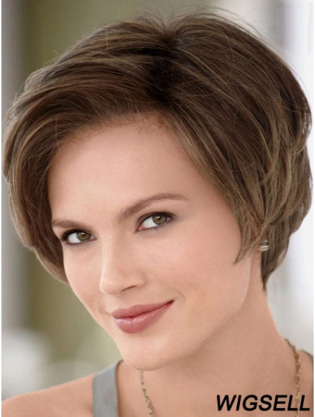8 inch Ideal Brown Without Bangs Monofilament Wigs
