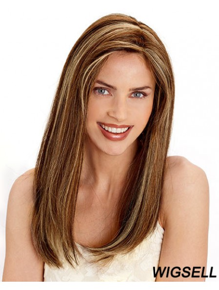 Layered Convenient Straight Brown Long Human Hair Wigs