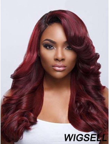 Wavy With Bangs Lace Front Fashionable 22 inch Red Long Wigs