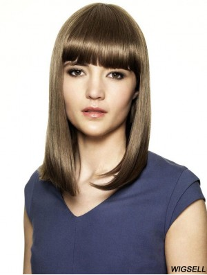 With Bangs Ideal Straight Brown Shoulder Length Human Hair Wigs