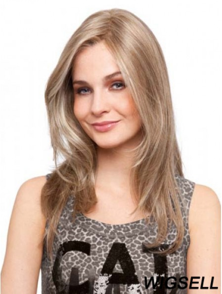 Without Bangs Stylish Straight Blonde Long Human Hair Lace Front Wigs