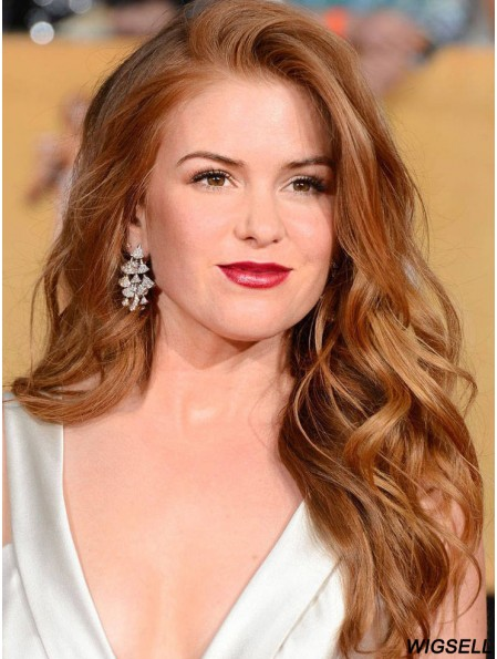 Cheap Human Full Lace Isla Fisher Wigs Wavy Style Cropped Color Long Length