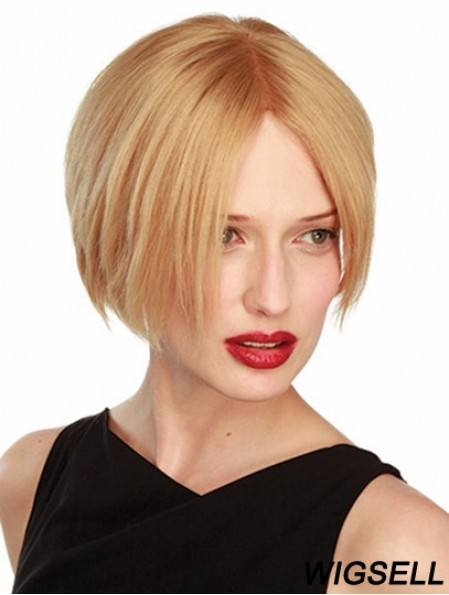 Bob wig Blonde Hair Straight Wig UK With Real Hair