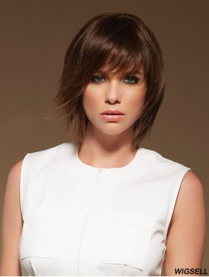 Monofilament Wig Chin Length Hand Tied Wig With Bangs Layered Cut