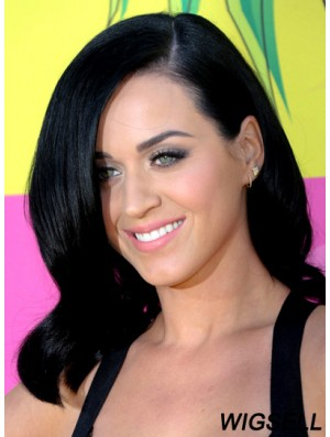 14 inch Discount Black Shoulder Length Wavy Layered Katy Perry Wigs