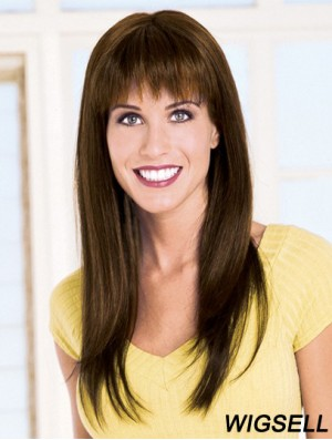Straight With Bangs Monofilament Brown Gorgeous Long Wigs
