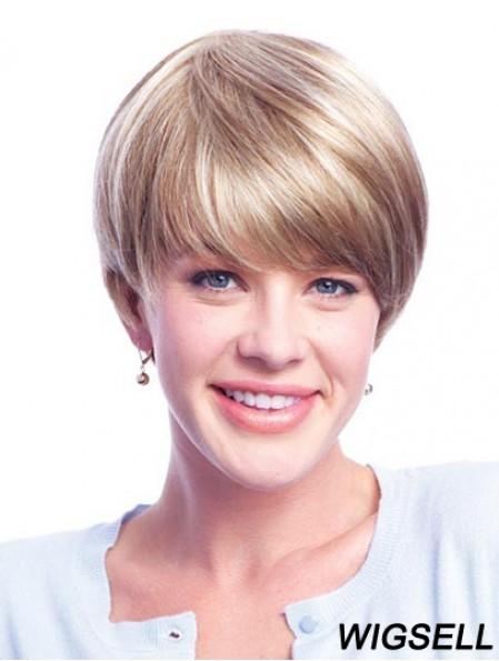 Monofilament Wig Blonde Short Wig For Ladies Human Hair