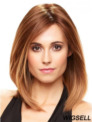Sleek Lace Front Wigs With Monofilamentt Auburn Color Layered Cut