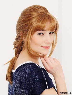 With Bangs Suitable Wavy Blonde Long Human Hair Wigs
