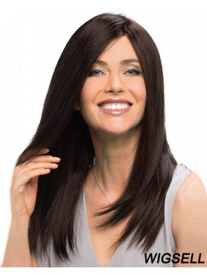 100% Human Hair Wig Auburn With Monofilament Straight Style Long Length