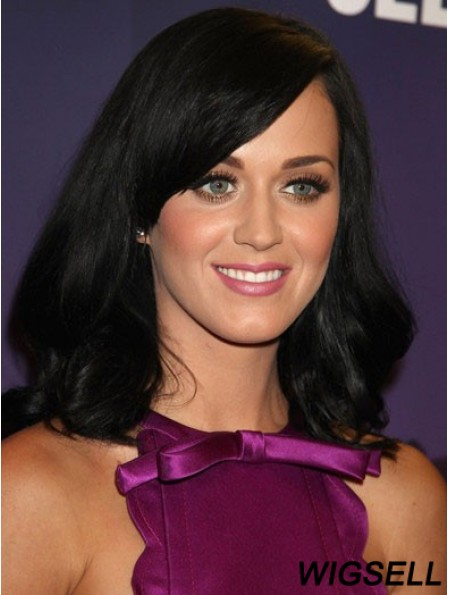 16 inch Ideal Black Shoulder Length Straight With Bangs Katy Perry Wigs