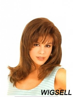 With Bangs Exquisite Straight Auburn Long Human Hair Wigs