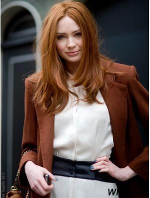 Without Bangs Long Copper Straight 18 inch Convenient Human Hair Karen Gillan Wigs