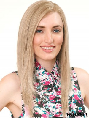 Without Bangs Gorgeous Straight Blonde Long Human Hair Wigs