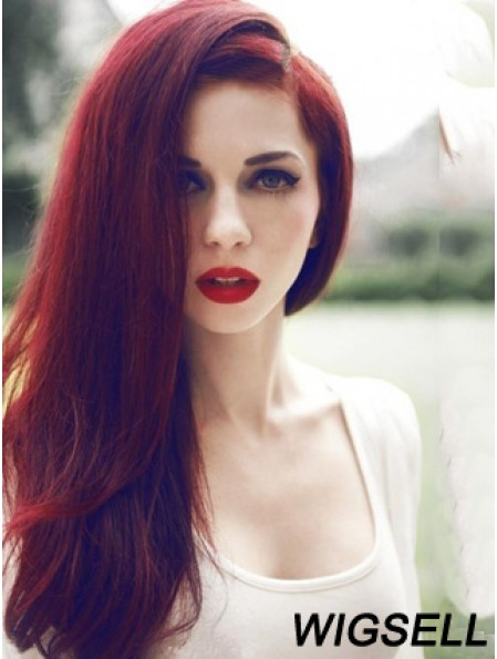 Straight Without Bangs Lace Front Trendy 20 inch Red Long Wigs