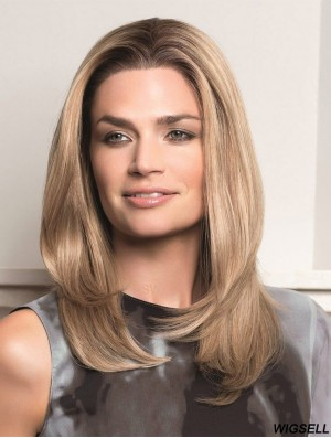 Blonde Long Suitable Straight Without Bangs Lace Wigs