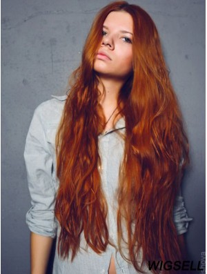 Without Bangs Long Copper Wavy 26 inch Convenient Human Hair Wigs