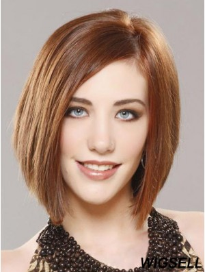 Chin Length Bob Wig Auburn Straight Wig Human Hair Monofilament Wig