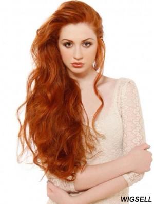 Without Bangs Long Copper Wavy 24 inch Soft Human Hair Beyaz Tenliler Wigs