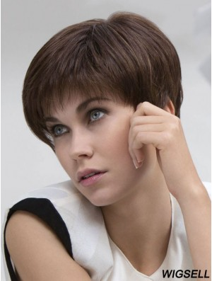 Sassy 6 inch Brown Cropped Boycuts Straight Lace Wigs