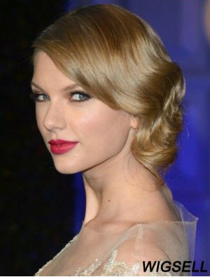 100% Hand-tied Without Bangs Wavy Shoulder Length Blonde Discount Taylor Swift Wigs