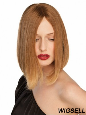10 inch Blonde Chin Length Without Bangs Straight Convenient Lace Wigs