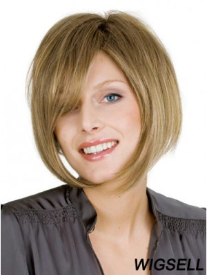 Blonde Straight Chin Length Bobs 100% Hand-tied Cheap Wigs For Women