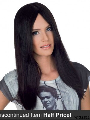 Straight Without Bangs Monofilament Black Durable Long Wigs