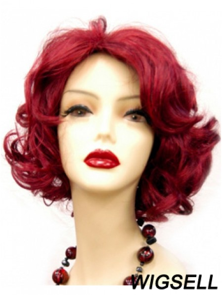 Wavy Without Bangs Chin Length Red Online Lace Front Wigs