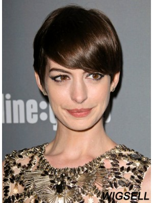 Brown Cropped Straight Boycuts Lace Front 6 inch Anne Hathaway Wigs