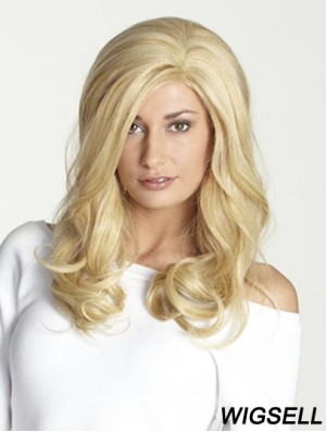 Without Bangs Long Blonde Wavy 18 inch Perfect Human Hair Wigs