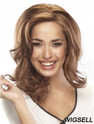Affordable 14 inch Auburn Shoulder Length Layered Wavy Lace Wigs