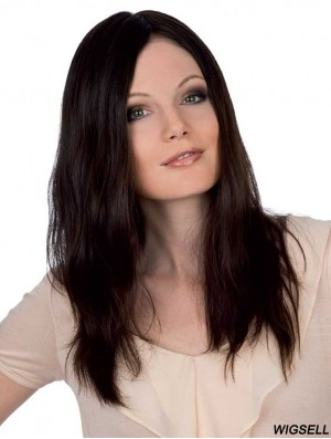 Straight Without Bangs Monofilament Brown Soft Long Wigs