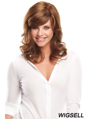 14 inch New Brown With Bangs Monofilament Wigs