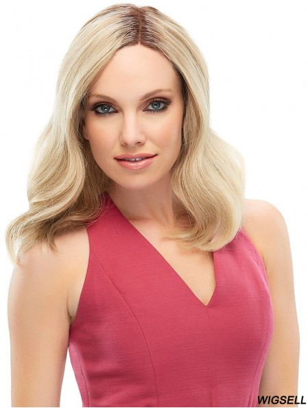 14 inch Blonde Shoulder Length Without Bangs Wavy Sleek Lace Wig