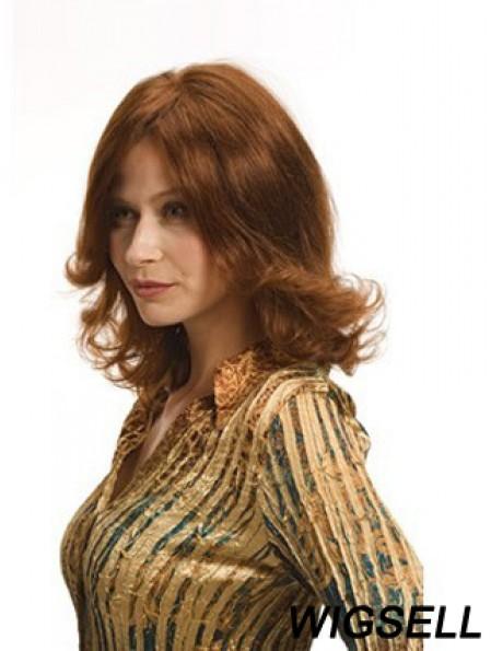 Layered Auburn Shoulder Remy Human Wavy Monofilament Wigs For Women