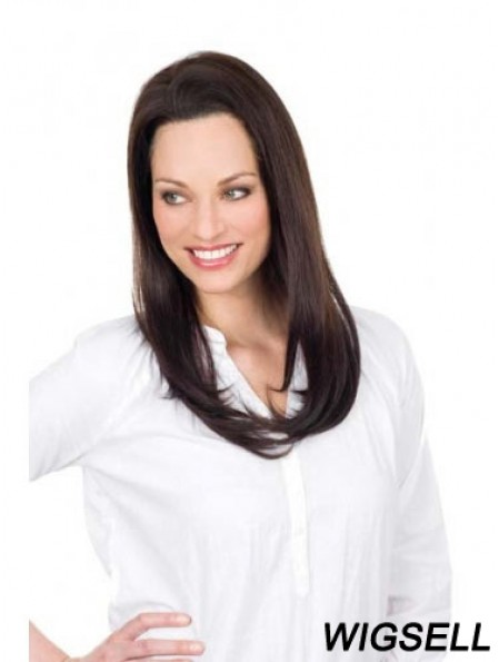 Brown Long Convenient Straight Without Bangs Lace Wigs