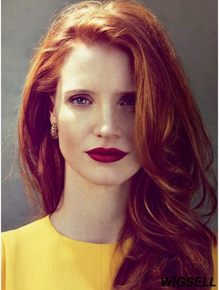 Without Bangs Long Copper Wavy 18 inch Designed Human Hair Jessica Chastain Wigs